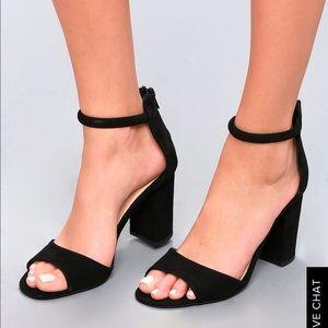Lulu's black suede ankle strap heels